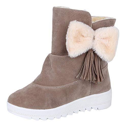 Fenverk Frau Einfarbig Mit Bogen Krawatte SchlüPfen BeiläUfig Schuhe Warm Winter Pelz Futter Verdickung Draussen Gehen Anti-Rutsch Schnee Stiefel(Khaki,36.5EU)