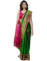 a319848e3a Unnati Silks Women Pure Handloom Mangalagiri Silk Pattu Saree with blouse  piece and Ikat Border from the Weavers of Andhra…
