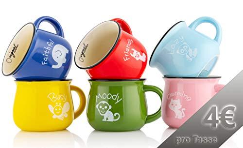 Mary's KITCHEN TOOLS 6er Tassenset | 350ml | Handgemachte | Keramiktassen | mit Tiermotiven | Familientassen & Kindertassen | für Kaffee & Tee | Bunt Retro Design (Mit Motiv)