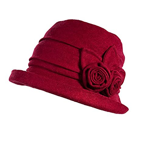 Siggi Ladies Wool Cloche Round Hat 1920s Fedora Bucket Vintage Bowler for Women Burgundy