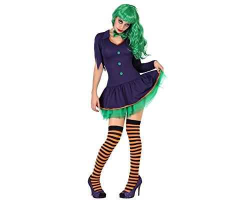 Imagen de disfraz de payasa malvada para mujer en varias tallas para halloween