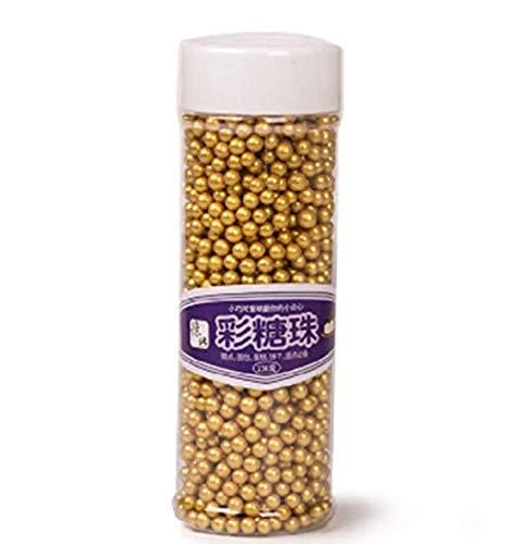 n-Mini-Perlen für Cupcakes, Feiern, Süßigkeiten-Perlen, Shaker, Glas, Hochzeit, Party, Kuchen, Lebensmittel-Dekoration, Supplies 12,4 g, 4 mm, goldfarben gold ()