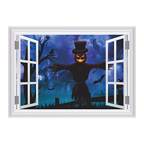 erdekoration3D Gefälschte Fenster Angst Kürbis Vogelscheuche Wald Wandaufkleber Für Halloween Party Bar Club Dekor Abnehmbare Vinyl Wandtattoos ()