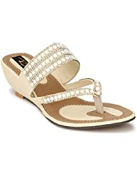 Rimezs Beige Slip On Low Heel Back Open Ethnic Wedges Sandal For Women And Girls