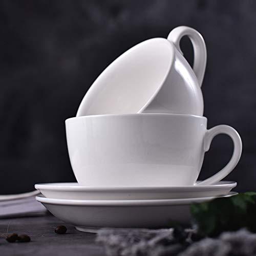 AFYBL Porzellan-Cappuccinotassen mit Untertassen - 170 ml Espresso-Tassen für spezielle Kaffeetassen, Latte, Café Mokka und Tee, 2er-Set weiß (Spezielle Tee-tassen)
