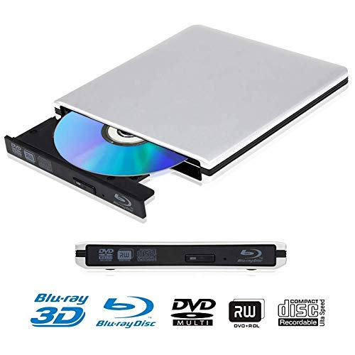 Blu Ray 4K Reproductor Grabadora DVD Externo Portatil Grabadora de Quemador Regrabadora Lector de CD DVD y Reproductor Disco para PC Windows7/8/10,Linux,Mac OS