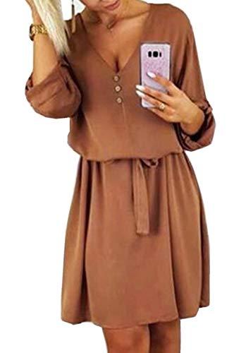 ZIYYOOHY Damen Casual Blusenkleid Chiffon Button V-Ausschnitt 3/4 Ärmel Freizeit Mini Sommerkleid Mit Gürtel (42, Armee grün)