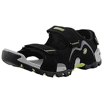 F-Sports Black & Green Anti Hydrolsis PU Nubuck Athletic & Outdoor Sandals For Men
