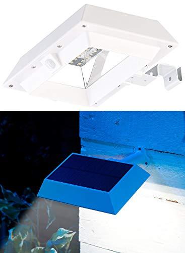Lunartec Zaunleuchten Solar: 2in1-Solar-LED-Dachrinnen- & Wandleuchte, PIR-Sensor, 300 lm, weiß (Außenwandleuchte Bewegungsmelder)