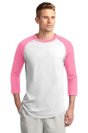 Sport-Tek Colorblock Raglan Jersey. T200 Gr. XXXXXX-Large, White/Bright Pink (Raglan-jersey-shirt Colorblock)