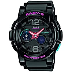 Casio Europe GmbH Baby-G - Reloj de cuarzo para mujer, con correa de resina, color negro