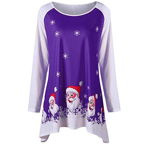 (MYMYG Mode Frauen Sweatshirt Frohe Weihnachten Oansatz Langarm Lächeln Santa Claus Print Top Brief drucken Pullover Oversized T-Shirt Pulli Shirt Herbst Winterpullover Oberbekleidung)