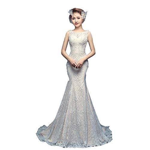Abito da sposa a coda di pesce abito da sposa a doppia spalla abito da sposa sottile con spalline (colore : bianca, dimensioni : s.)