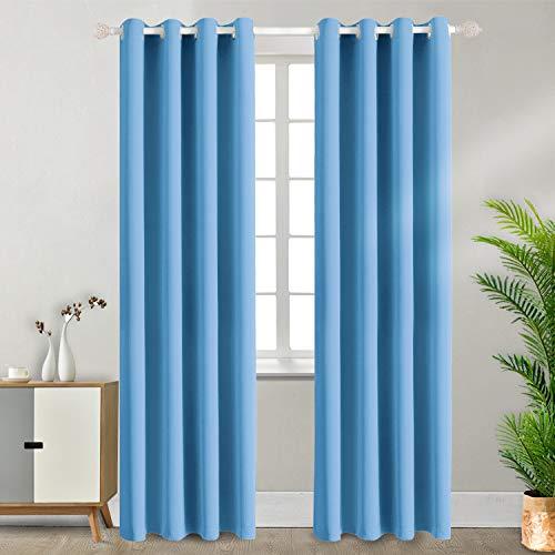 BGment Ösenvorhang Thermovorhang blickdichte Gardine,245 x 140 cm (H x B),2er-Set,Blau Verdunkelungsvorhänge Blickdicht Vorhang mit Ösen für Wohnzimmer