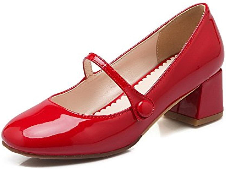 ea20c2b0909 AgooLar Women s B01JZ3DA3G Pull Closed On Patent Kitten Leather Square Closed  Toe Kitten Heels Pumps Shoes B01JZ3DA3G Parent c710aee