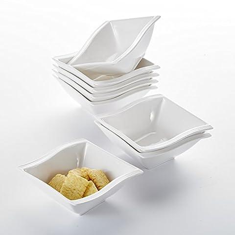 Malacasa, Serie Flora, 8 teilig Set Cremeweiß Porzellan Schüssel Schalen Müslischüssel Salatschüsseln Dessertschalen je 4,75