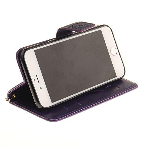 Coque iPhone SE, Coque iPhone 5S, SpiritSun Etui Coque pour Apple iPhone SE / 5 / 5S (4.0 pouces) Mode PU Cuir Housse de Protection Pochette Folio Cas Cover Stand Wallet Case à Rabat Magnétique Couver Violet