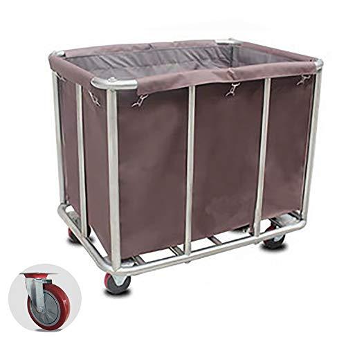Unbekannt YXX-Wäschewagen Mobile Wäschekorb Sortierer Wagen mit Rädern, Edelstahl Roll Lagerung Wagen für verschmutze Wäsche, 200 kg Kapazität (Color : Coffee Color) -