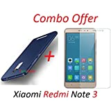"""YuniKase (COMBO OFFER) for Xiaomi Redmi Note 3 / Mi Note 3 - - - All Sides Protection """"360 Degree"""" Sleek Rubberised Matte Hard Case Back Cover (Blue) + Premium Tempered Glass Mobile Screen Protector - - - (Transparent)"""