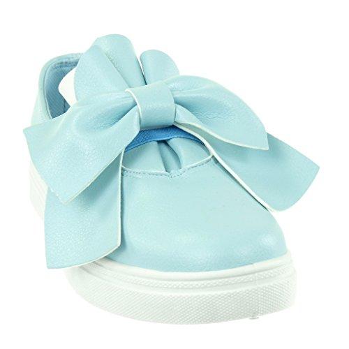 flache On Knoten Schuhe Blau CM Angkorly 5 Slip Ferse 2 genarbtem damen Sneaker Tennis xq15wX8Y