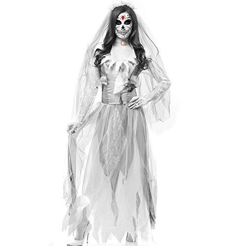Halloween cosplay abbigliamento per le donne diavolo vampiro zombie fantasma sposa abito abbigliamento cosplay costume horror puntelli gioco anime costume (medio),white,xl