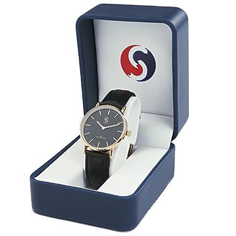 Sopily - Montre analogique Femme - bracelet cuir noir cadran