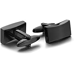 TOOGOO(R)2 Piece Stainless Steel Black cufflink