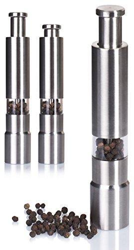 Salzstreuer Pfefferstreuer mit Edelstahl Mahlwerk - Silberfarben 15 x 3 x 3 cm - Druckknopf Gewürzmühle zum Würzen (Salz-und Pfeffer-koch)