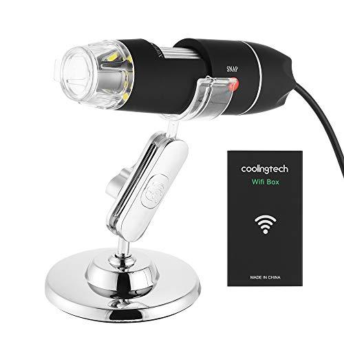 Kreema Drahtloses Wifi USB-Digital-Mikroskop Portable mit 2MP, 1080P HD, 1600x Vergrößerungs-Mikroskop für iPhone/iPad Android Windows Mac (Portable Usb-mikroskop)