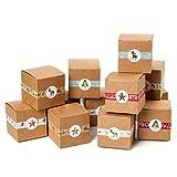 Funhoo Adventskalender zum Befüllen 24 Schachteln DIY Set Kraftpapier Boxen