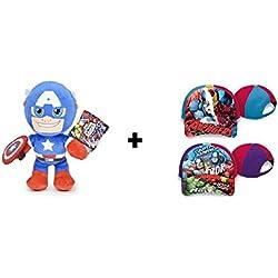 Los Vengadores (The Avengers) - Pack Gorra 100% algodón + Peluche Capitan America 30cm Calidad super soft