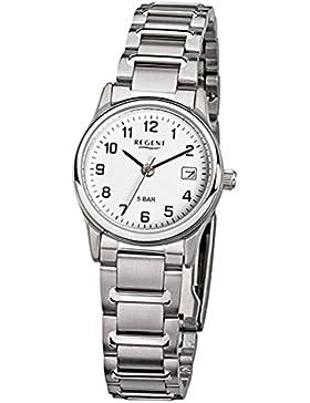 Regent Damen-Armbanduhr Elegant Analog Stahl-Armband silber Quarz-Uhr URF140