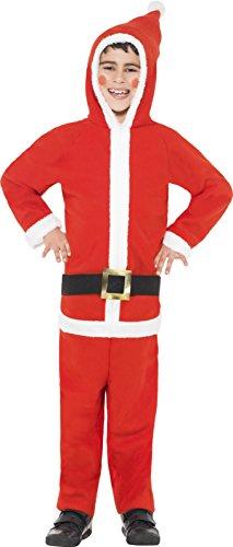 Kostüm Großbritannien Weihnachtsmann Kinder (Smiffys, Kinder Jungen Weihnachtsmann Kostüm, All-in-One mit Kapuze, Größe: M,)