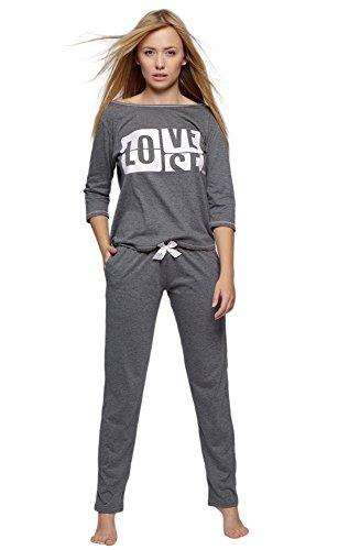 SENSIS modischer Baumwoll-Pyjama Schlafanzug Hausanzug aus lässigem Shirt und Hose, Graphit, Gr. S (36)