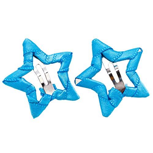 Ecmqs charmant, bambina i bambini, colore di caramelle, pinze per capelli, forma di stella a cinque punte, briller, tessuto avvolto, lega metallica, hairgrips, i fermagli, festa, 3.5x 3.5cm azzurro