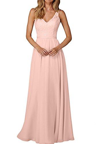 La_Marie Braut Edel Spitze Chiffon Champagner Brautjungfernkleider Abendkleider Partykleider Lang A-linie Rock -50 Perlen Rosa (Perlen-spitze-rock)