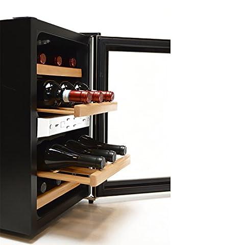 Luxe vin Réfrigérateur | Refroidisseur à Vin à boisson | mini-bar Réfrigérateur | pour 12x bouteilles de vin | Étagère en bois véritable avec