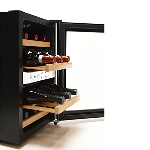 Wein-kühler Aus Holz (Luxus Weinkühlschrank | Weinkühler Getränkekühler | Minibar Kühlschrank | für 12x Weinflaschen | mit Echtholz-Regalsystem)