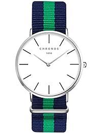 Moda Simple Relojes para Hombre Mujer - Correa de Textil de Nylon  Multicolor Ultra-Delgado Échelle Linéaire… 8d09b7df5546