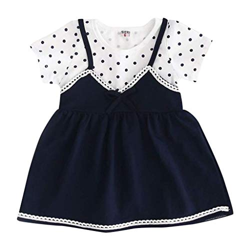 KIMODO Baby Mädchen Kleid Wellenpunkt Drucken Bowknot Kleid Kurzarm Urlaub Sommerkleid Kleinkind Party Prinzessin Freizeitkleidung