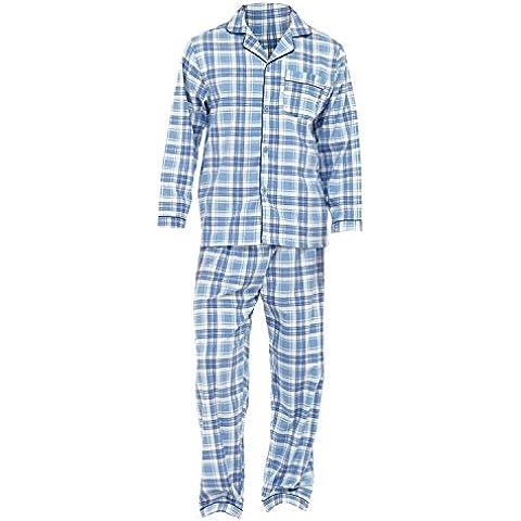 Conjunto pijama camisa de manga larga y pantalones de franela hombre caballero
