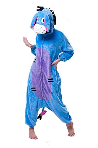 Zeichentrickfiguren Winnie The Pooh Piglet Eeyore Donkey Esel Tigger Tiger Känguru Onesie Kigurumi Pyjama Karneval Kostüm Maskenkostüm Kapuzenpulli Schlafanzüge Eeyore Donkey, M(Height ()