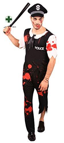 Karneval Klamotten Zombie Polizist Herren-Kostüm INKL. Polizeistock Horror Herren-kostüm blutiger Polizist Halloween Größe 52/54