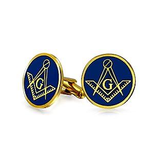 Bling Jewelry Freimaurer Masonic Kompass Zeichen Runde Manschettenknöpfe Für Herren Zwei Ton Silber Vergoldet Edelstahl