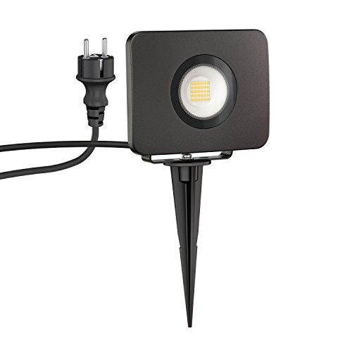ledscom.de LED Gartenstrahler Wega mit Erdspieß für außen, schwarz, 30W, 2600lm, warm-weiß