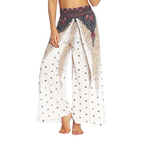 Cicisiso Yogahosen böhmischen Doppelschichten voller Länge hoch taillierte elastische Taille breite Hose A L