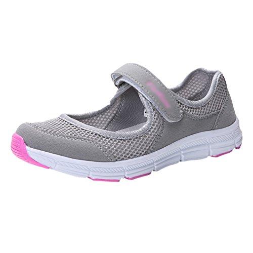 9fee20a99d385b Yiiquanan Damen Chic Mesh Flacher Mund Hohl Schuhe Sneakers Fitnessschuhe  Laufschuhe Leicht Sportschuhe (Licht Grau