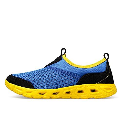 les amateurs de chaussures de maille respirante été maille ajourée baskets maille chaussures de sport occasionnels supérieurs mis les pieds blue yellow
