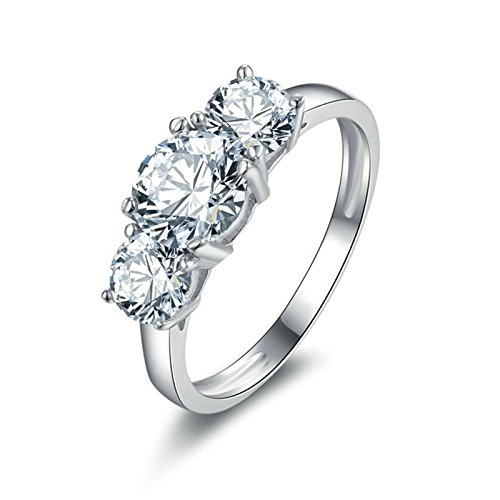 Daesar fedi nuziali donna elegant 3 rotondo rotondo bianco anelli zirconia cubica anello argento anello donna taglia 10