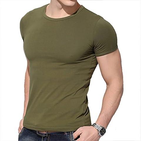 Ronde O Armee Du Cou En Coton Vert A Manches Courtes Extensible Exercice De T-Shirt De Tee S